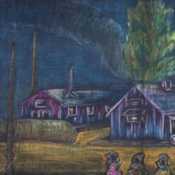 """Rohwer at Night"" -- Artist, a Rohwer Internee (Courtesy Butler Center for Arkansas Studies)"